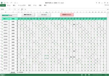 勤務シフト表作成画面